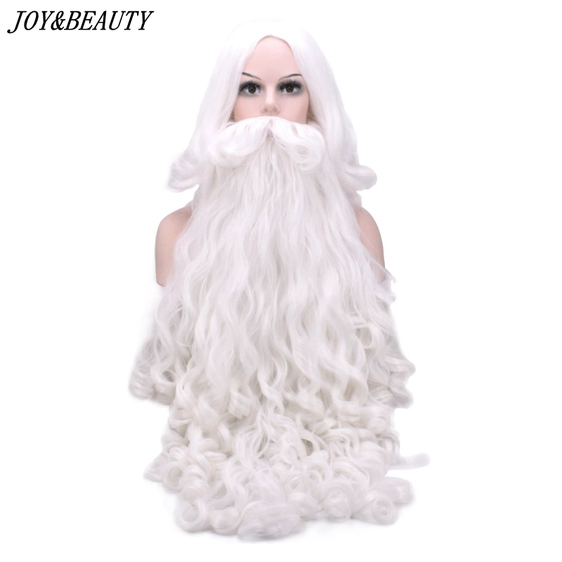 JOY&BEAUTY Santa Claus Long Wavy Wig White Santa Claus Beard Set Fancy High Temperature Fiber Cosplay Wig