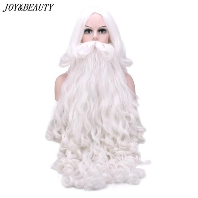 JOY&BEAUTY Santa Claus Long Wavy Wig White Santa Claus beard set Fancy High Temperature Fiber Cosplay wig