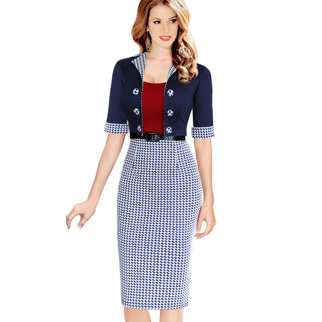 Women Elegant Business Suits Blazer with Skirts Formal Office Suits Work Tunics Work Wear Knee Length Pencil Dress
