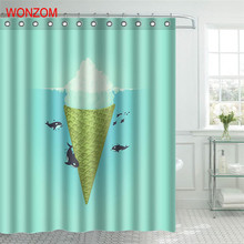 WONZOM Whale Play With Ship Polyester Fabric Shower Curtain Bathroom Decor Waterproof Cortina De Bano 12 Hooks Gift 2017