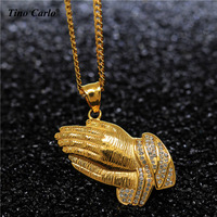 New Stainless Steel Hip Hop Iced Out CZ Praying Hands18K Real Gold Plate Box Chain Prayer