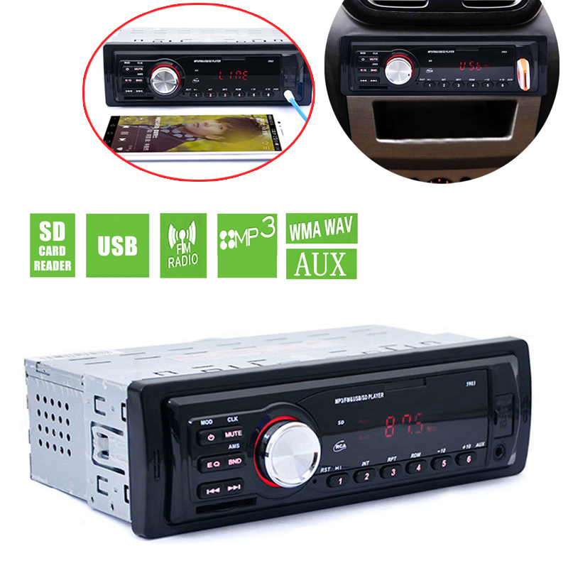 5983 Car In-Dash Stereo Audio FM Aux Input Receiver SD USB MP3 WMA Radio Player 1 DIN 4-channel high power output 1 din car stereo radio audio player receiver fm aux cd dvd wma mp3 player usb sd slot detachable panel for sedan suv truck etc