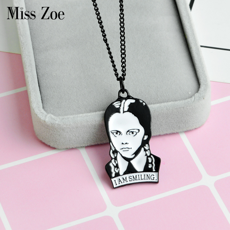 Wednesday Addams I am smiling pendant necklace Comics Accessories Black and white portrait necklace Dark humor Gift for friend