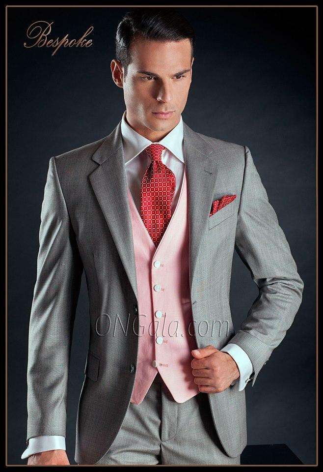 Latest Coat Pant Design Italian Light Grey Pink Men Suit Groom Jacket Slim Fit 3 Piece Tuxedo Custom Prom Blazer Terno Masculino