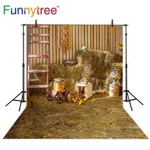 Funnytree backdrop for photographic studio warehouse haystack autumn farm ladder fruit background photobooth photocall printed