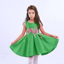 2017 New Kids Summer Princess Dress Girls Flower Party Dresses Children Costume Free Ship 2-14T