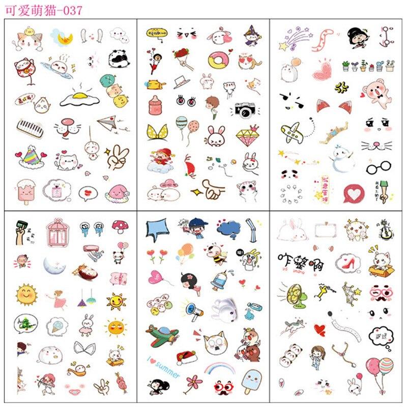 6 Sheets/pack Adorable Cat Adhesive Decorative Stickers Diy Album Decor Student Stationery Sticker Set Stick Label