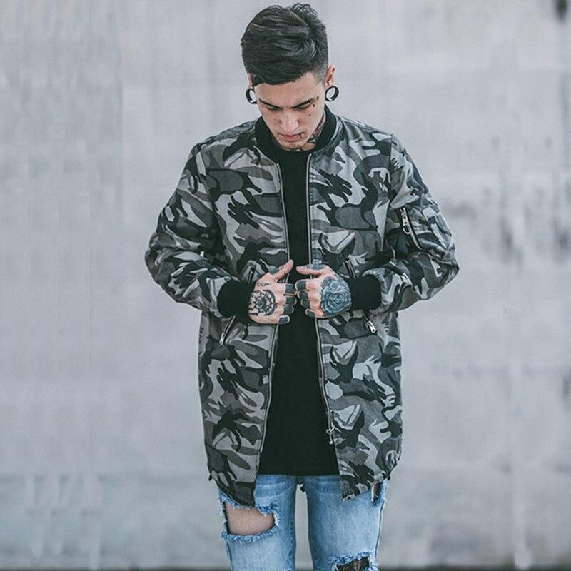 spring autumn designer mans boys Camouflage loose causal long jacket parkas