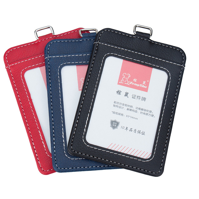 ZongShu men s lanyards id badge holder women holders for card and  certificates leather case for admission 8fc1bcd38c