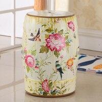 Moderno chinês cerâmico alto flor e pássaro desin fezes para casa e decoração do jardim h18inches
