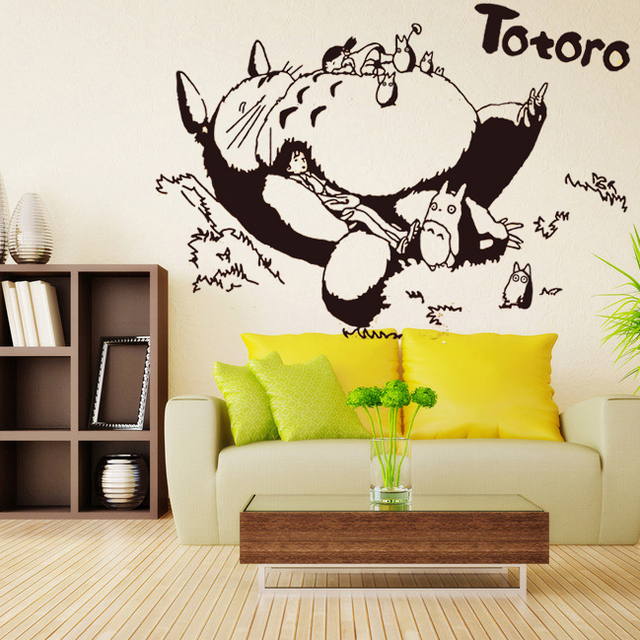 Totoro Vinyl Wall Decal Japanese Cartoon Totoro Wall Sticker Kids Bedroom  Living Room Anime Sticker Home