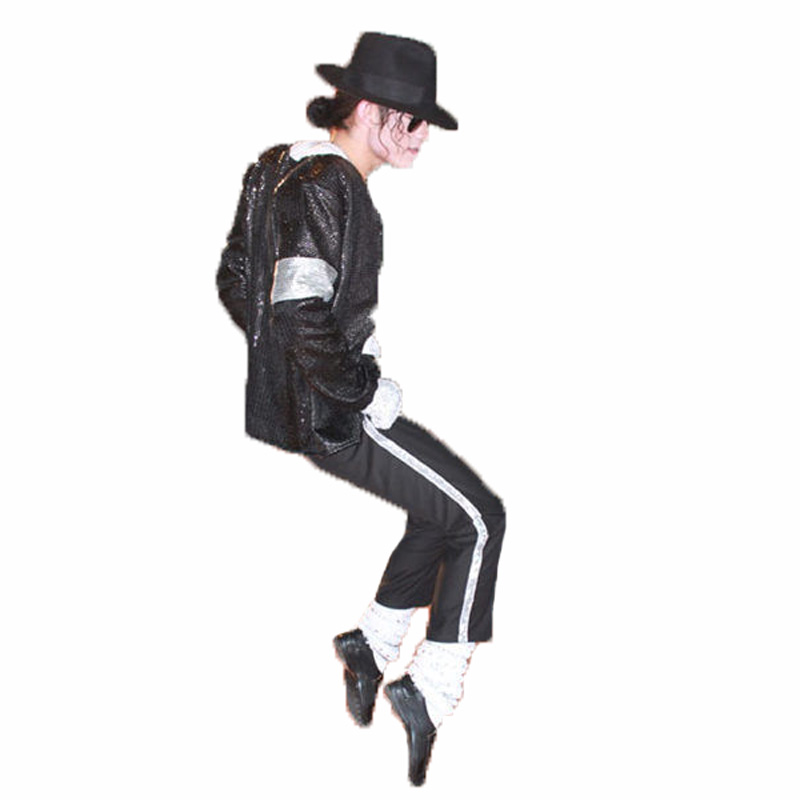 Michael Jackson Cosplay MJ Cos Child Adult Costume 6pcs MJ Billie Jean Jacket+Pant+Tshirt+Sock covers +one Glove+Hat