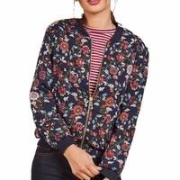 Women Casual Print Zipper Vintage Blazer Jacket Coat Outwear Blouse Ladies Print Long Sleeve Jacket GH25