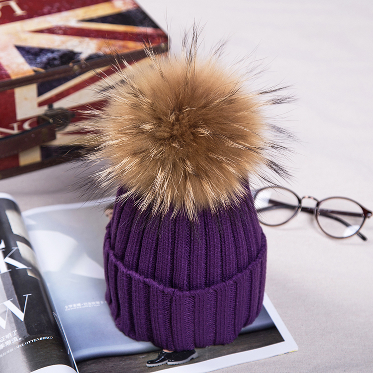 Veydu Fashion Winter Fur hats for Women and Men 100% Real Fur Pompom Knitted Beanies Cap Natural Fur Hat for Kid Children pop winter raccoon fur hats real 15cm fur pompom beanies cap natural fur hat 1pc