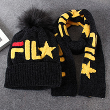 Warm hat and scarf children Neck Scarves Boy Girl Knitted Scarf Collar Baby cotton Kids Knitting glove sets