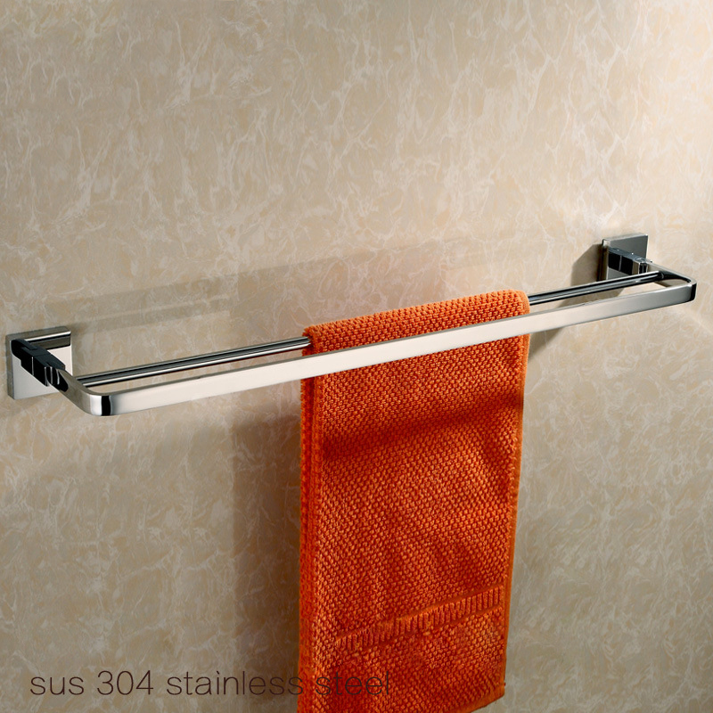Bathroom Accessories Solid Brass Chrome Finish Double Towel Bar Bathroom Products Towel Holder Towel Rack aluminum wall mounted square antique brass bath towel rack active bathroom towel holder double towel shelf bathroom accessories