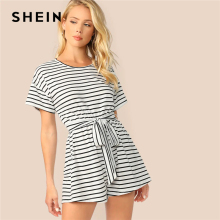 4a3aece2fe SHEIN White Wide Leg Belted Striped Tee Romper Women Short Sleeve Round  Neck Keyhole Back Playsuit