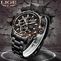 LIGE New Mens Watches Top Brand Luxury Full Steel Sport Chronograph Quartz Clock Waterproof Big Dial Watch Men Relogio Masculino