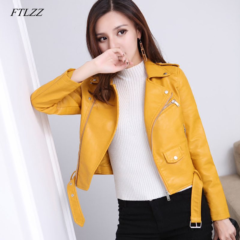 FTLZZ 2019 New Women Autunm Winter Wine Red Faux   Leather   Jackets Lady Bomber Motorcycle Cool Outerwear Coat With Belt Hot Sale