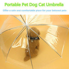 Transparent Dog Umbrella – Portable with Built-in Leash