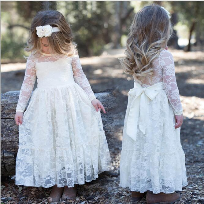 New 2017 Baby Girls Lace Party Dresses Kids Girls Princess Bow tutu Dress Girl Autumn Winter Clothing Babies Xmas clothes