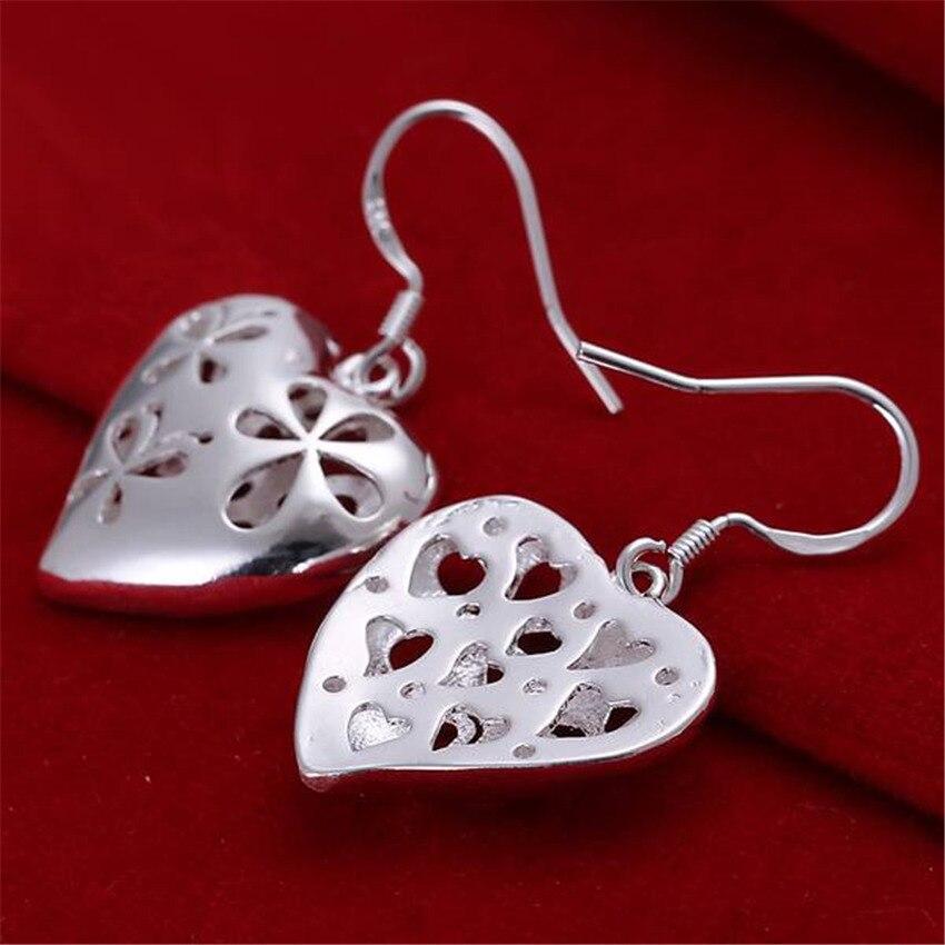 Beautiful women favorite fashion Heart wedding Lovely silver color heart earrings high quality fashion jewelry E217 2