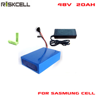 Rechargeable 18650 Lithium Battery 48V 20Ah 1000w Li ion Battery Pack with charger and bms For Samsung cell