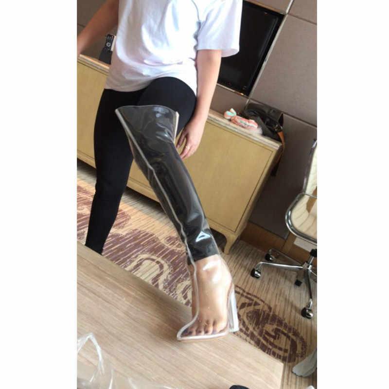 Mstacchi Sexy bottes sur-le-genou chaussures transparentes femme bottes de pluie crista cuissardes talons Botas Mujer chaussures grande taille 34-48