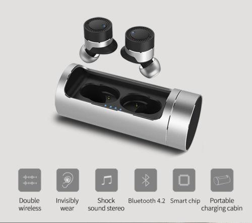 OVEVO Q62 Dual Wireless Binaural Bluetooth Earphone Mini IN Ear Headset Portable charging cabin Sports Headphones for Smartphone