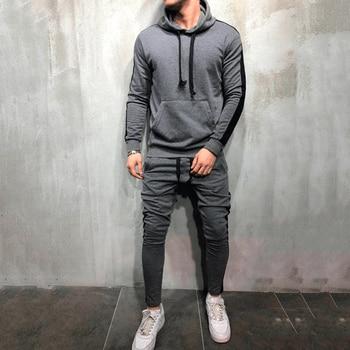 2 Pieces Sets Tracksuit Men New Brand Autumn Winter Hooded Sweatshirt +Drawstring Pants Male Stripe Patchwork Hoodies Bigsweety 1