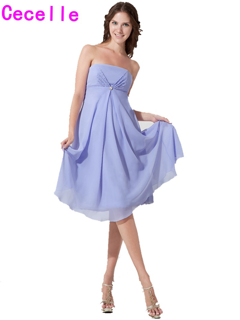 Lavender Chiffon Short Maternity   Bridesmaid     Dresses   Empire Waist Beaded Summer Informal Pregnant Women Wedding Party   Dress   Real