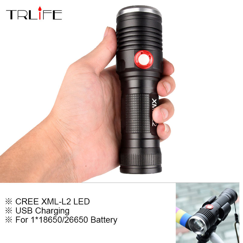 Powerful LED Tactical Flashlight CREE XM-L2 Flashlight Torch 8000LM Aluminum Flash Light Camping Lamp with Smart Power Reminder nitecore mt10a 920lm cree xm l2 u2 led flashlight torch