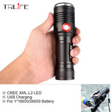 Powerful LED Tactical Flashlight CREE XM-L2 Flashlight Torch 8000LM Aluminum Flash Light Camping Lamp with Smart Power Reminder