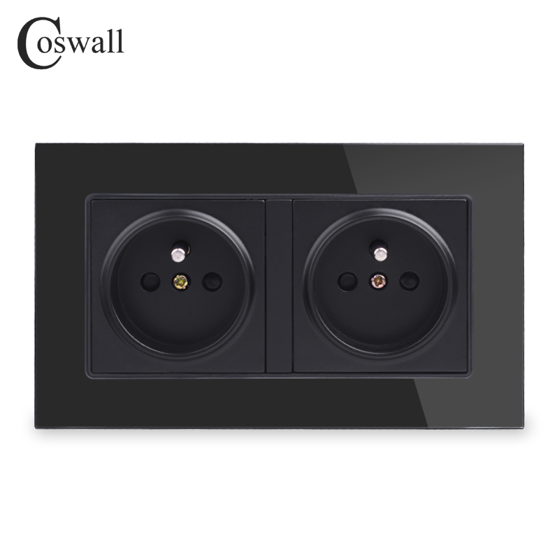 Coswall Black 16A Double French Wall Socket Crystal Glass Panel Power Outlet Plug Grounded 146mm * 86mm