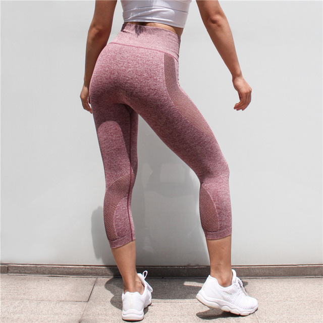 ce201dd3b458 Seamless Solid Yoga Capris High Waist Mesh Panel Gym Tights Workout Sport Leggings  Women Tummy Control Fitness Cropped Pants