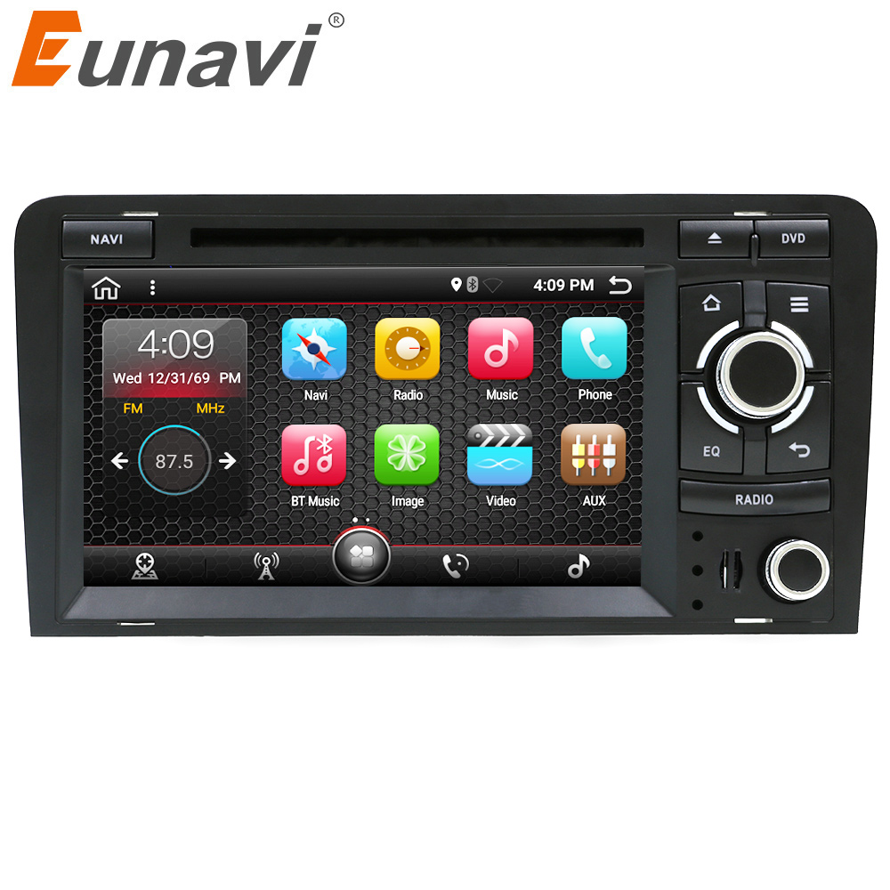 Eunavi 7 Quad core 2 Din Android 7.1 Car DVD player Radio Stereo GPS Navi for Audi A3 S3 RS3 in dash touch screen usb wifi