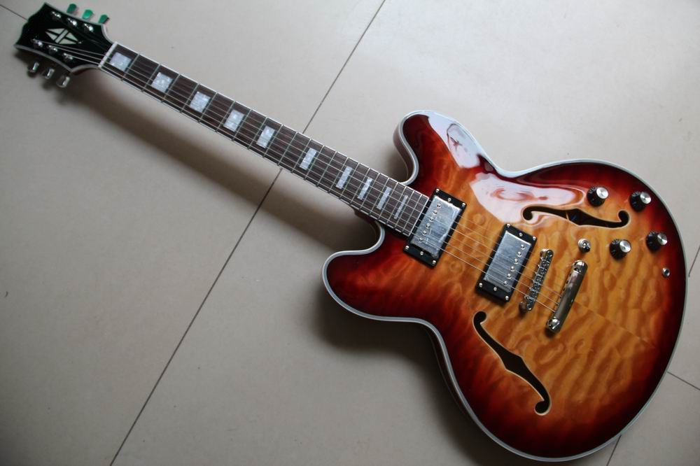 Wholesale ES 335 Jazz electric guitar semi hollow body in Sunburst 130415 high quality musical instrument cherry sunburst classical hollow guitar body es jazz guitars china lefty available