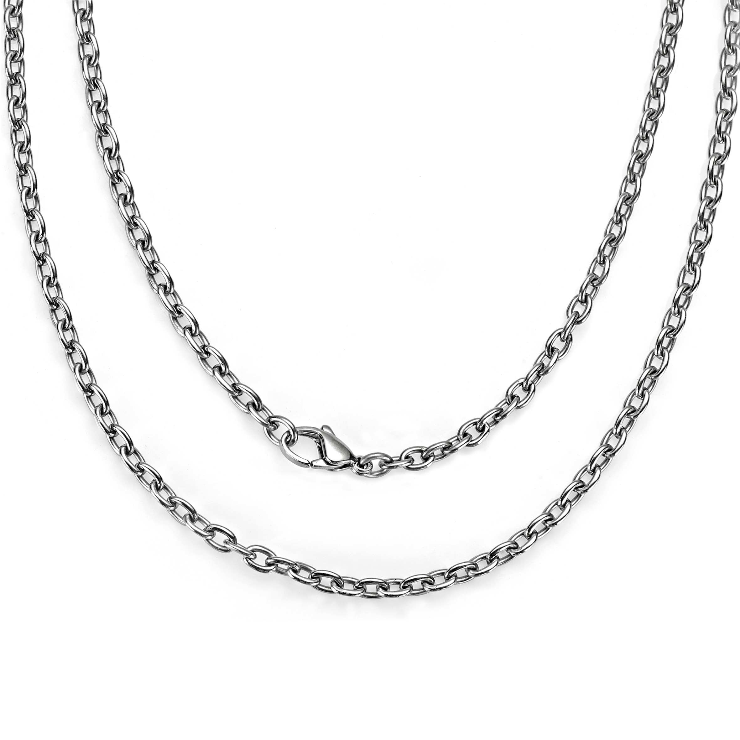 3 Sterling Silver 1mm Cable Chain Large Lobster Clasp Bracelet Safety 2