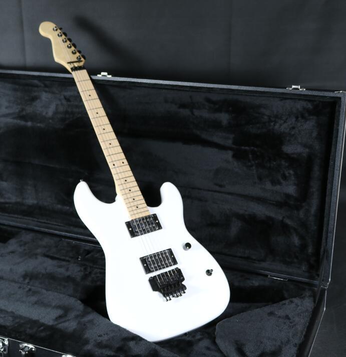 Blanc SR-Charvel Guitare Électrique Inversé Poupée Main Légère Floyd Rose Pont Daul Micros Humbucker Corps En Tilleul