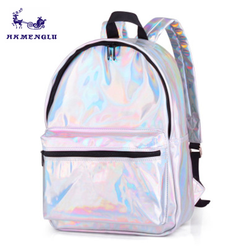 Silver Holographic Backpack Bag Laser Back Pack Female Bag For Teenage Girls Hologram Backpack Daypack Holographic school bags цена
