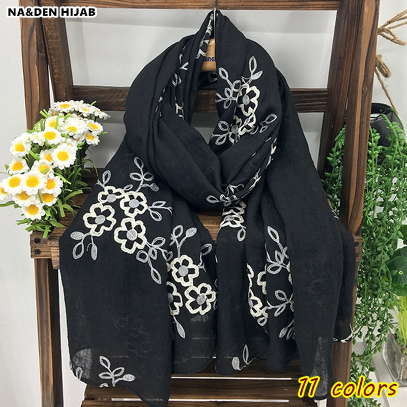 2018 NEW embroidery scarf elegant white embroider flower women scarves and shawls soft islamic hijab scarfs long pashmina pretty
