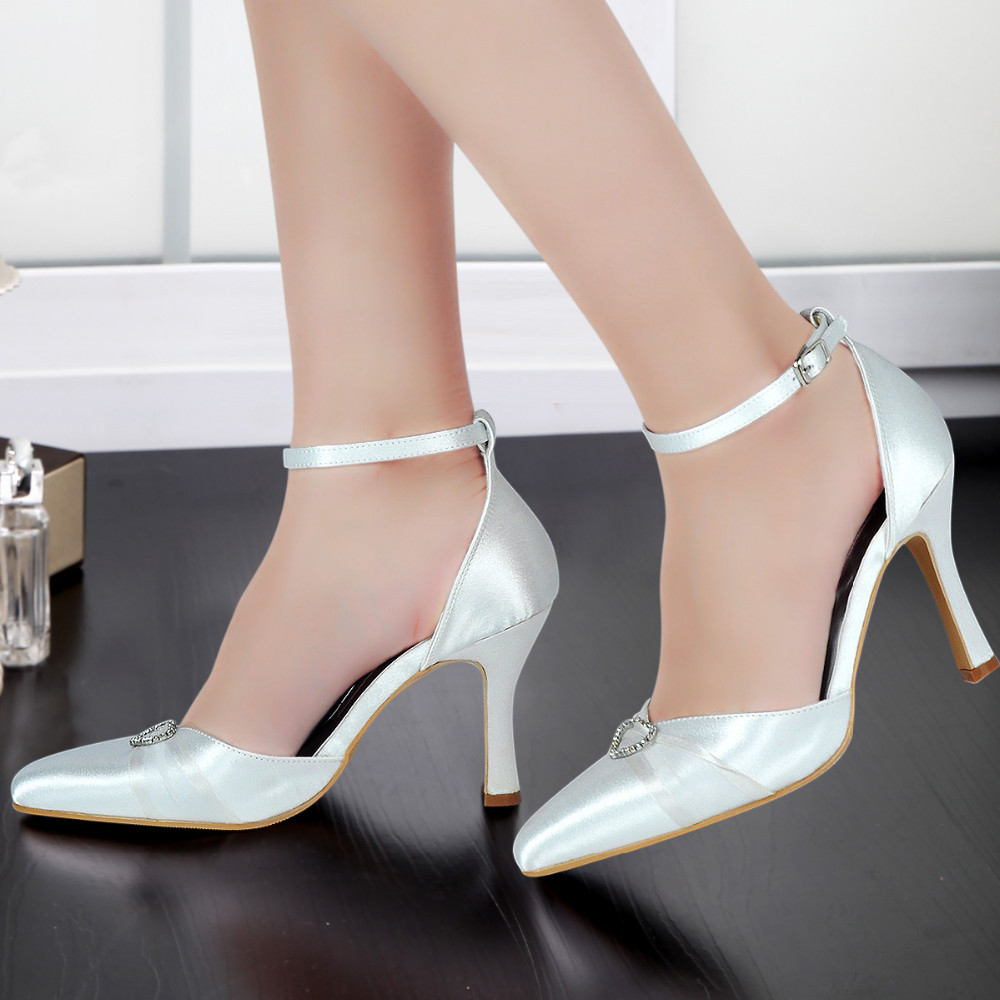 A560 women's shoes ivory White Pointed Toe Ankle Strap high Heel crystal Satin Woman lady wedding bridal prom party dress pumps