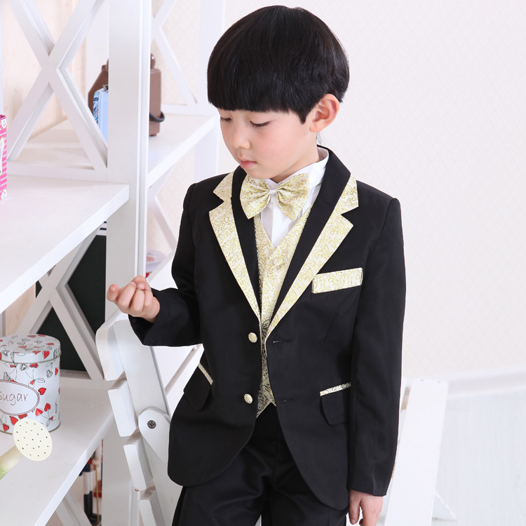 Boys Formal Suits For Wedding England Style Children Black Party Tuxedos kids 6pcs Suits Blazer Jackets+shirts+Pants+Vest+Ties