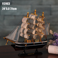 24CM Wooden Ship Model Handmade Carved Sailing Boat Home Nautical Decor Crafts Mediterranean Style