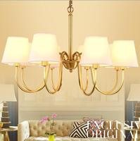 American country droplight Nordic Restaurant wrought iron lamps lights imitation copper lamp Cloth art chandelier