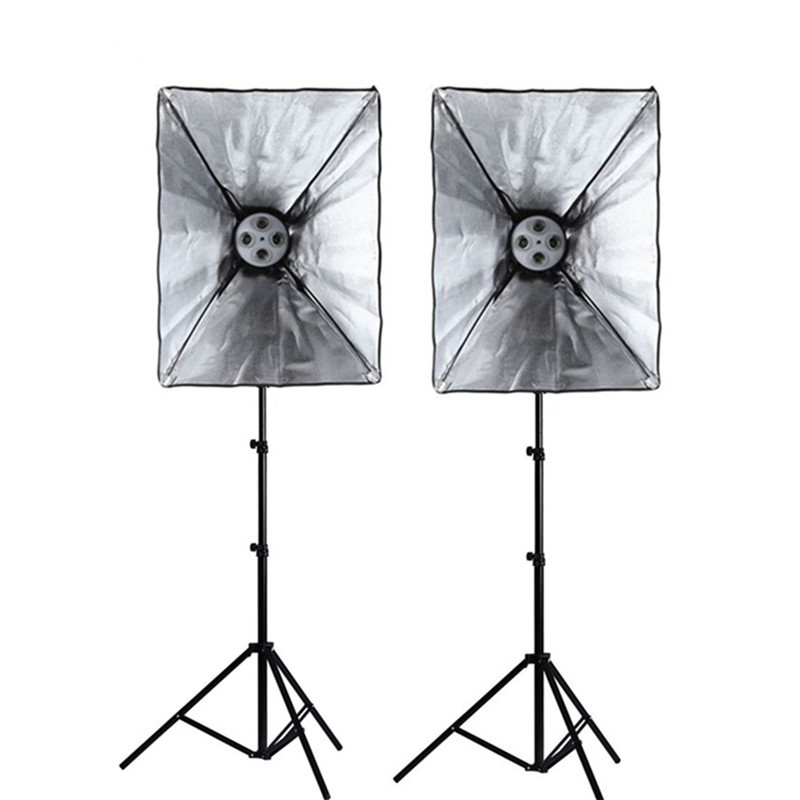 Photography Studio Soft Box Continuous Lighting Kits Light Stand*2 + SoftBox with 220V E27 4 Lamp Holder*2 Photo Studio Set ashanks photographic equipment 5 e27 socket lamp holder with 60x90cm softbox photo studio light tent box kit continuous lighting