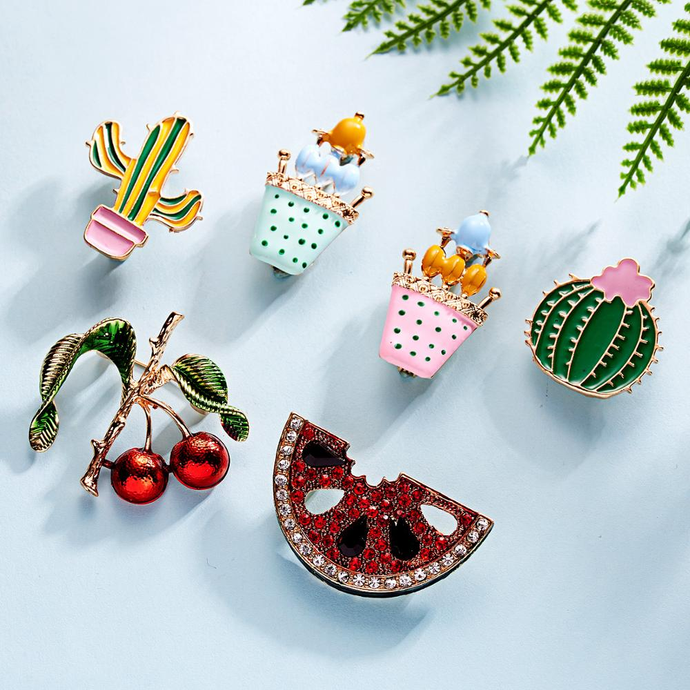 Fashion Crystal Cactus Owl Watermelon Brooch Pin Women Rhinestone Jewelry Gifts