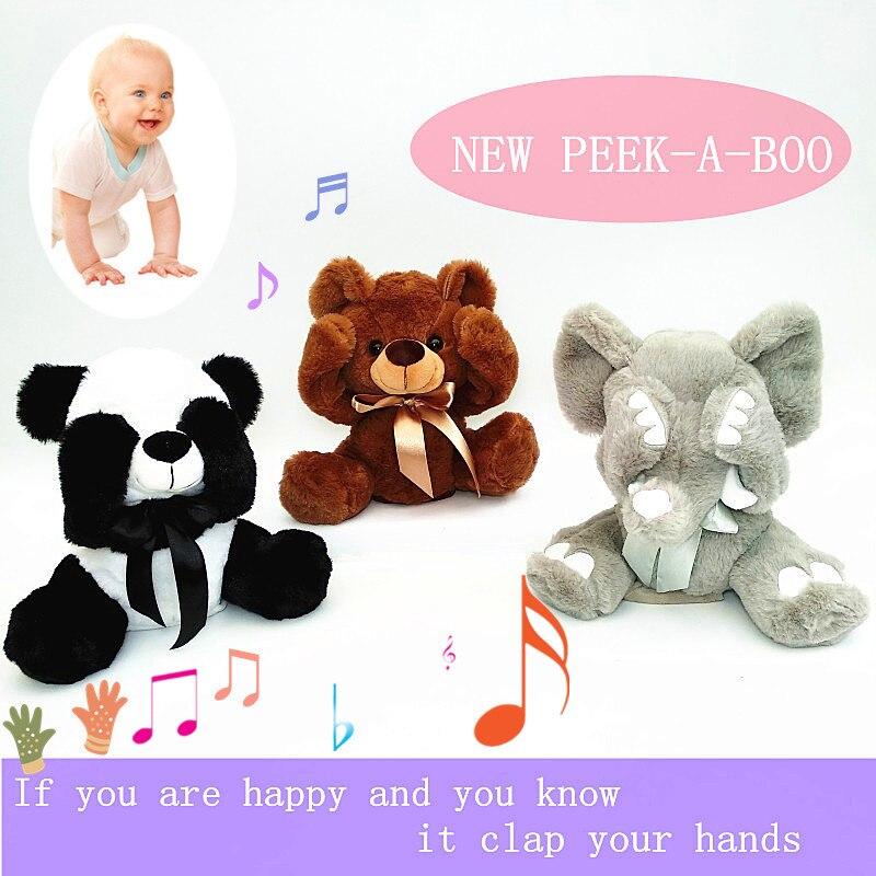 Nuevo Peek A Boo juguete animales, animales de peluche y felpa juguete perro/oso/Panda/elefante, cantar bebé música juguetes para regalo de Navidad