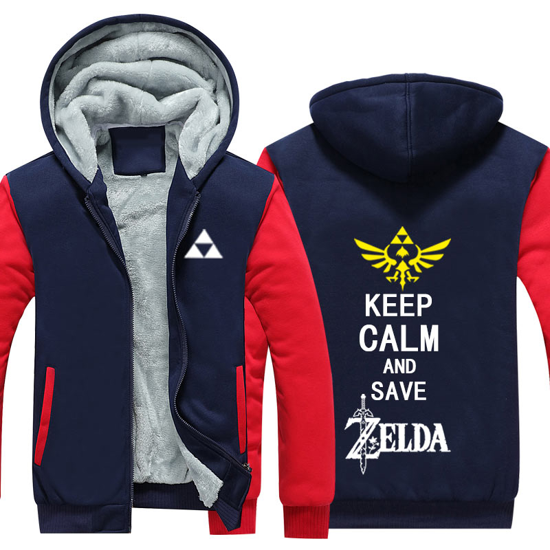Dropshiping Winter Warm  Zelda Jacket Baseball Unisex Wool Liner Fleece Hoodie Thick zipper Pocket For Men's Sweatshirt Coat