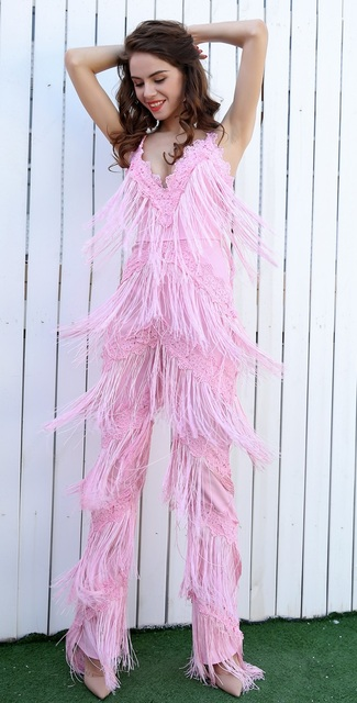 f6bd70076125 Pink Fringe Tassel Jumpsuit Sexy Plunge Day to Night Sleeveless-in ...